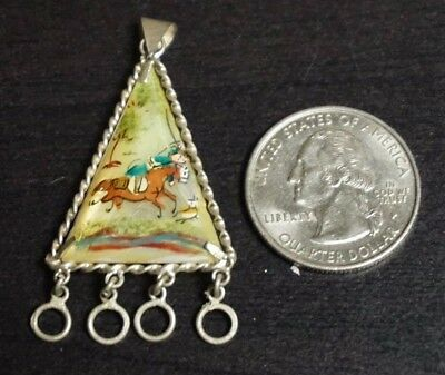 Vintage Antique Silver Persian Mother of Pearl 2 sided Pendant Hand Painted A23