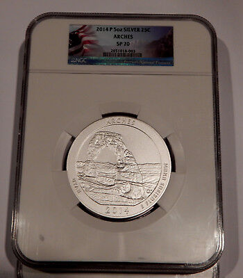 2014 P Arches NGC SP70 ATB Park 5 oz Silver Coin ( Flag Label )