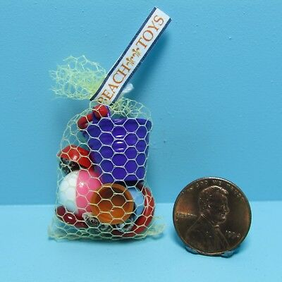 Dollhouse Miniature Bag Filled with Beach Toys, Bucket, Ball & More ~ MUL5003