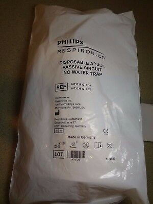 One Philips Respironics Disposable Adult Passive Circuit No Water Trap # 1073228