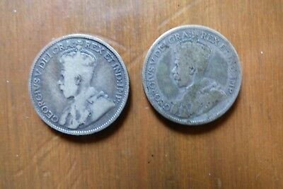 Two 1913 Canada 25 Cents In Worn Condition
