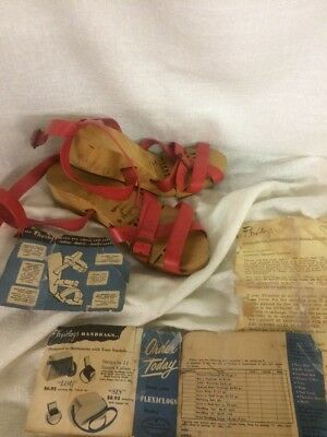 Rare Vintage 1950s Flexiclogs RED straps size 6 womens wood Flexi Clogs w/ paper