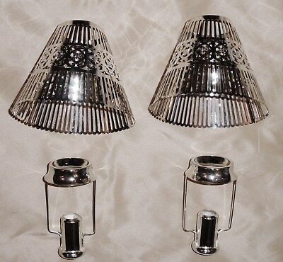 Pair Never Used Vintage Pierced Silverplate Filigree Candle Lamp Shades Holders