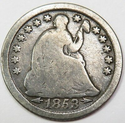 1853-P With Arrows Liberty Seated Silver Half Dime 5c US Coin Item #15496
