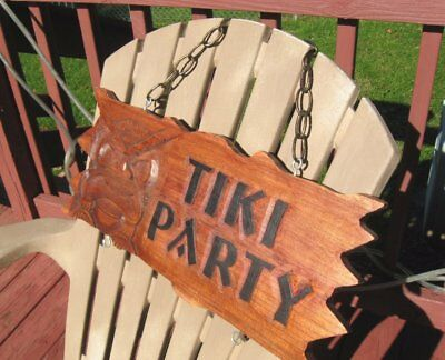 "Vintg TIKI PARTY/BAR Raised Relief Hawaiian Wooden Sign~21"" x 9"""