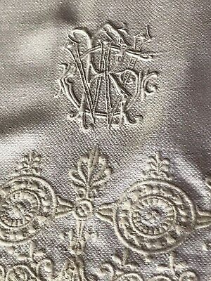 AU- Antique intricately embroidered & monogramed ecru linen show towel exquisite