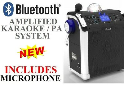 250W Portable Amplified Bluetooth Karaoke System Radio USB MP3 SD DISCO BALL NEW