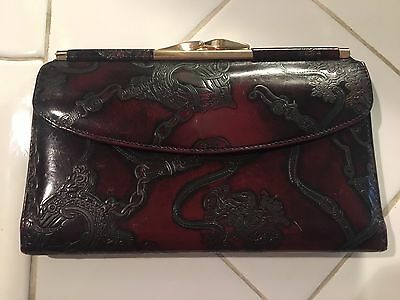 Vintage Beautifully Tooled Equestrian Theme Gary's LA Wine Leather Wallet