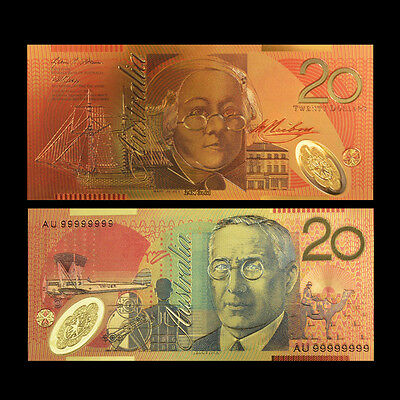 24Kt Gold Limited Edition Coloured Australian $20 Polymer Bank Note