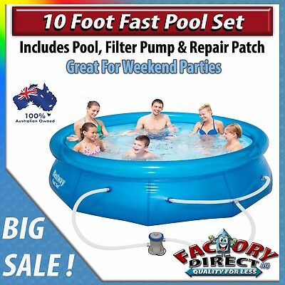 NEW! 10ft Fast Pool Set Bestway Family Kids Adults Water Splashy Fun Hot Summer!