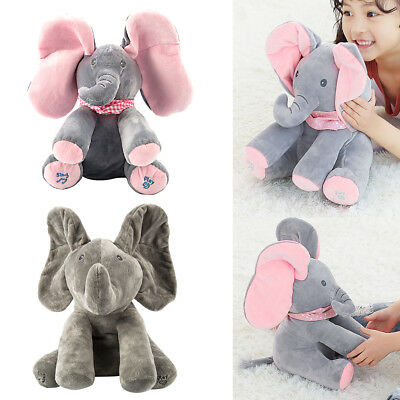 Peek a boo Baby Flappy Elephant Plush Toy Super-soft Animated Singing Kids Doll