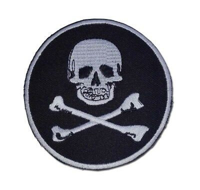 IRON-ON PIRATE PATCH - JOLLY ROGER Skull and Crossbones EMBROIDERED