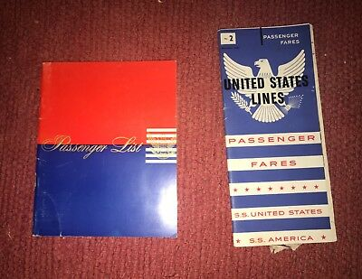 Passenger List 1953  & Fare Brochure for the SS U.S. Illustrated Booklets