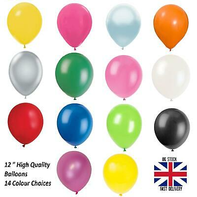 "High Quality Pearlised Metallic Balloons 12"" Air or Helium party 14 colours"