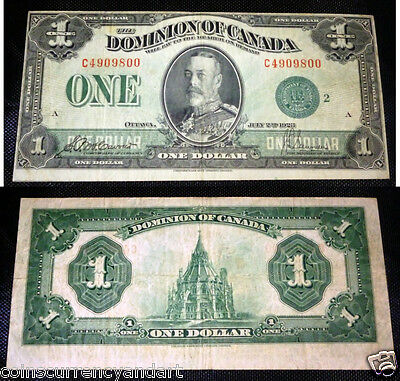 1923  Dominion of Canada $1 .C Series, GREEN SEAL