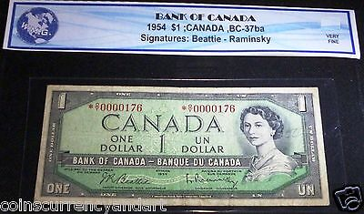 Bank of Canada $1 1954  LOW # 176  ASTERISK REPLACEMENT *O/Y