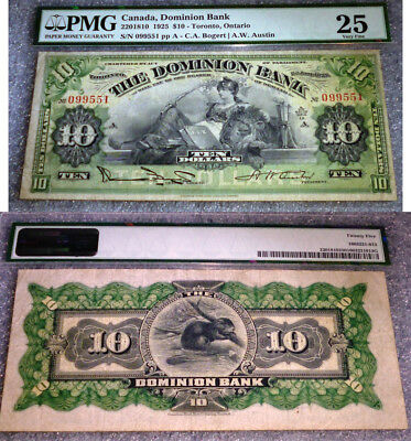 Canada: 1925 Dominion Bank $10 Dollars PMG VF25  LARGE BANKNOTE