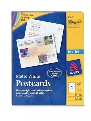 """Avery® Postcards, Matte, 4-1/4"""" x 5-1/2"""", 200 Cards (8387)"""