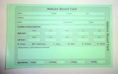 Nail Record and Aftercare Cards: 20 cards