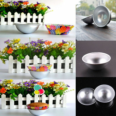 2Pcs 3D Aluminum Sphere Bath Bomb Mold Cake Pan Tin Baking Half Ball Mould Hot
