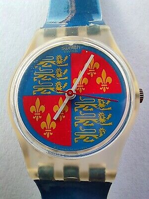 SWATCH LADY LIONHEART - LK102 - 1986 - with different blue strap - New + pila