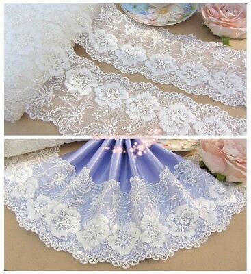 "4/""*1Y Embroidered Floral Tulle Lace Trim~Ivory White~Beautiful Day~DIY//Wedding~"