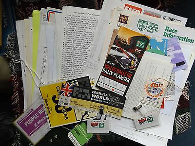 COLLECTION OF OVER 140 RESULTS TIMING SHEETS TICKETS PRESS RELEASES etc F1 RALLY