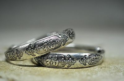 """2pcs Exquisite Chinese miao silver hand carved """"福"""" bracelets ve4"""