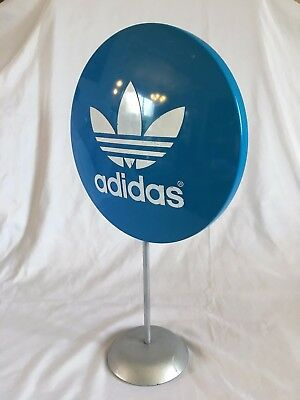 """Adidas Blue Lollipop Button Store Counter Display Advertising Vintage Sign 19"""""""