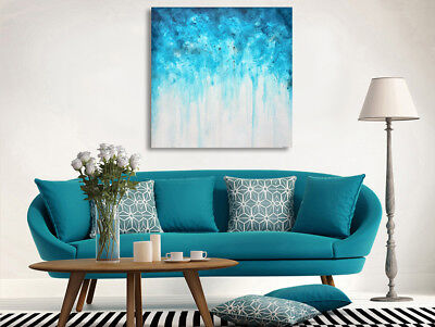 Abstract Blue Stretched Canvas Print Framed Wall Art Hanging Home Office Decor