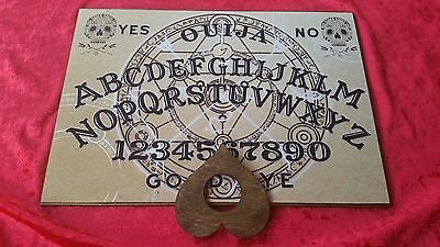 Wooden Ouija Board game & Planchette Instructions. Spirit hunt Bizarre Ghost
