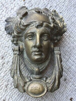 Antique Solid Brass Greek, Roman Goddess Door Knocker, Original Patina!  Old!