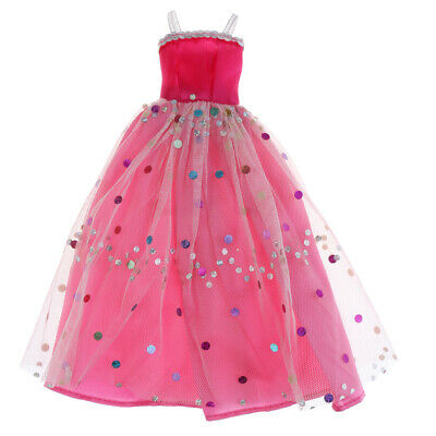 Doll Clothes for Barbie Party Pink Sequin Tulle Gown Dress Skirt Outfit Tops