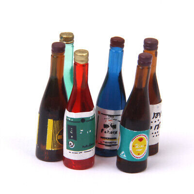 Dolls House Miniature 6pcs Wine Bottles Kitchen Pub Bar Food Drink Accessory