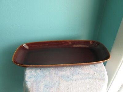 Vintage Gustavsberg Terma Ugnseldfast Sweden Brown Glazed Long Tray