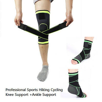 3D Weaving Pressurization Brace Knee Support + Ankle Support Sports Pad Set SID