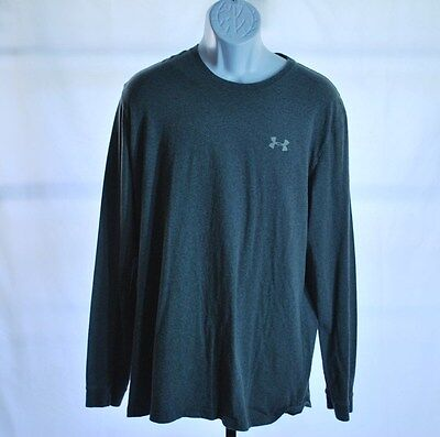 Under Armour Charged Cotton Gray Long Sleeve Loose Fit Heatgear Shirt Men's Sz 2