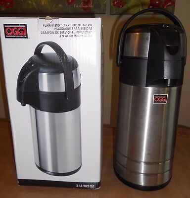 OGGI Pumpmaster Insulated Thermal Stainless Steel Beverage Server 3 LT/102 OZ