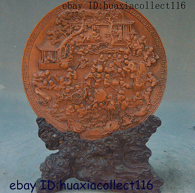 """9"""" Collect Old China Tradition Rosewood Wood Hand Carved TongZi Carved Screen"""