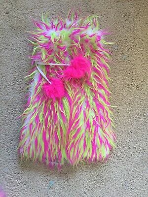pink and green rave fluffies