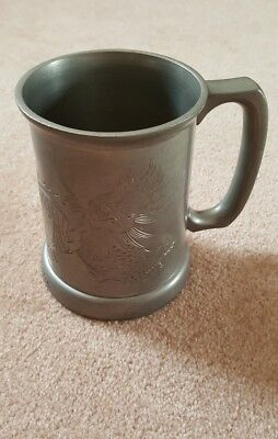 Chinese Swaton Pewter Mug Tankard Glass Bottom Dragon Design 1 Pint