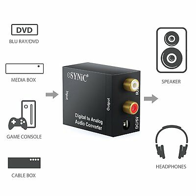 ESYNiC DAC Digital Optical Coaxial Toslink to Analog Stereo RCA Audio Converter