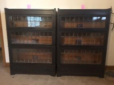 Pair Antique Original Leaded Glass Mission Oak 3 Stack Bookcase Globe Wernicke