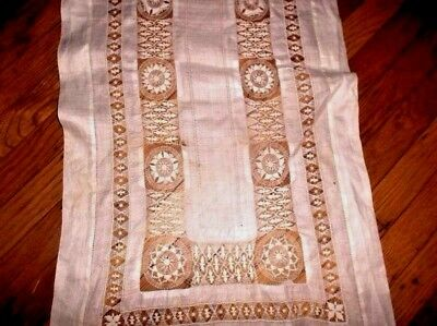 "Antique Nanduti/Tenerife linen lace runner 19""x 72"" 1920's era~spectacular work"