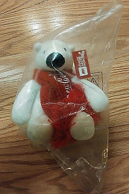 """2011 Coca-Cola Artic Home 4"""" Promotional Bear With Logo Scarf New Sealed"""