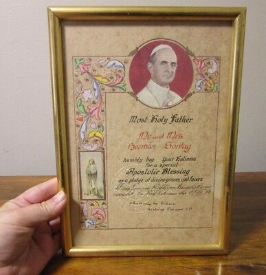 Vtg framed Apostolic Blessing. Hand painted. Papal seal Pope Paul VI