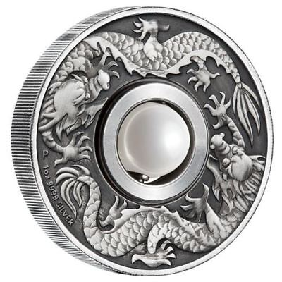 Australia Dragon and Pearl 2017 $1 1oz Silver Antiqued Coin