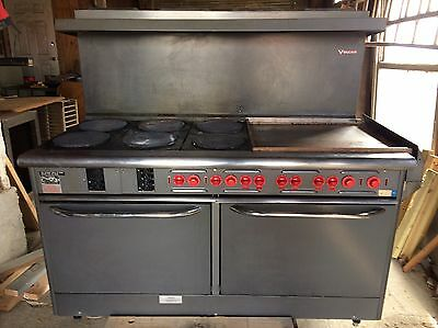 "Used 60"" Vulcan 6 Burner Range Stove W/ 24"" Griddle & Broiler"