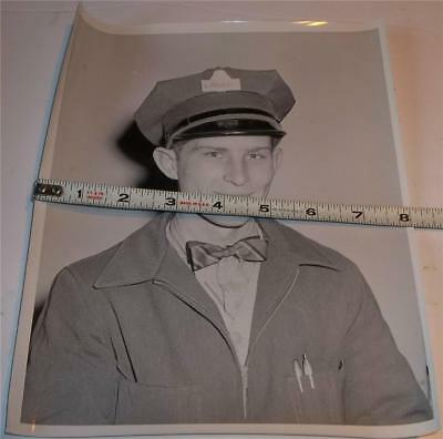 Vintage Nickles Bakery Delivery Man Employee Photo  Man In Bow Tie
