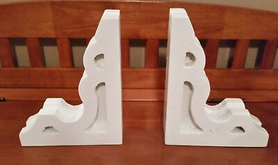 PAIR of Old Wood Corbel Shelf Mantle Brackets Bookends White Distressed